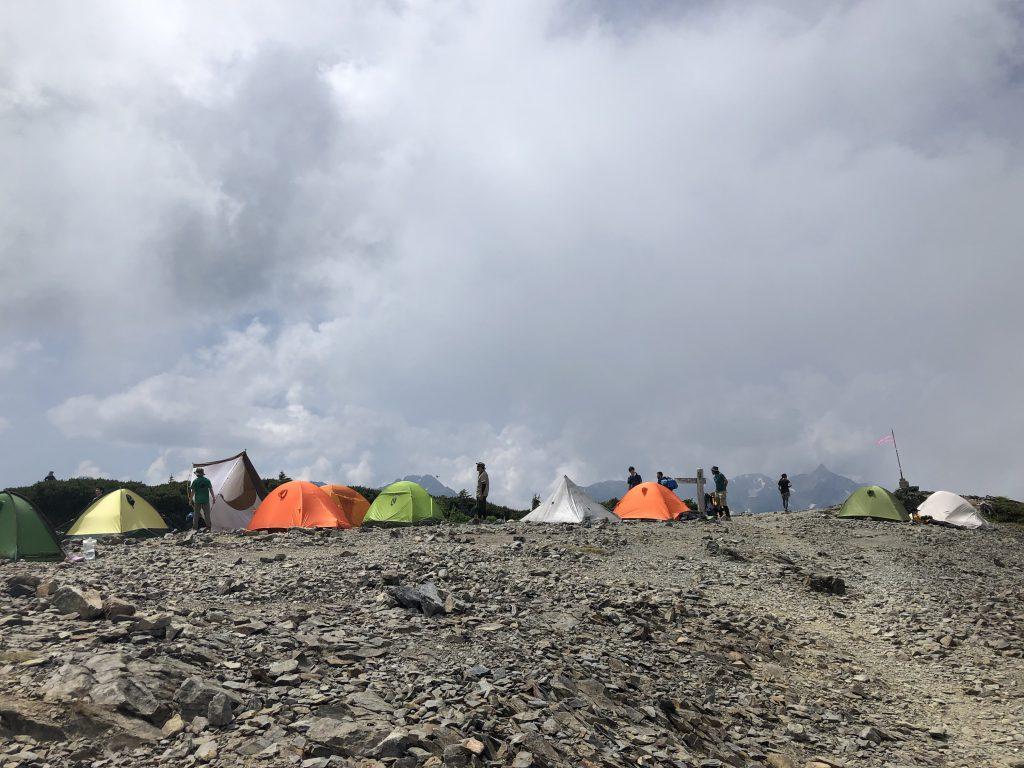 蝶ヶ岳 テン場