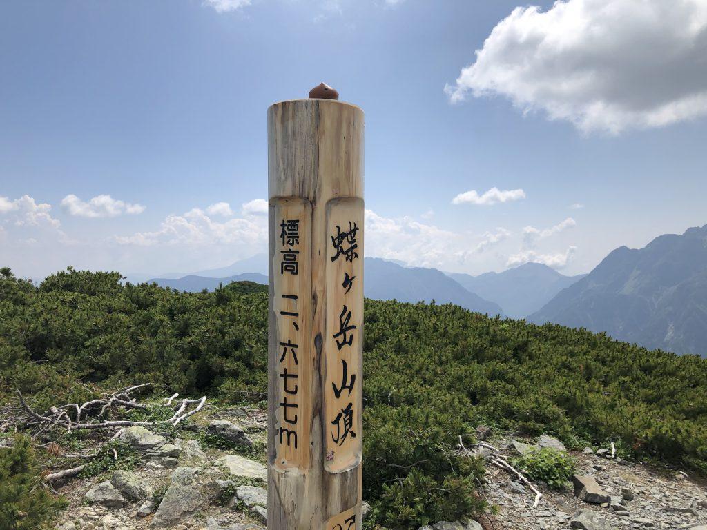 蝶ヶ岳 山頂 カピバラさん
