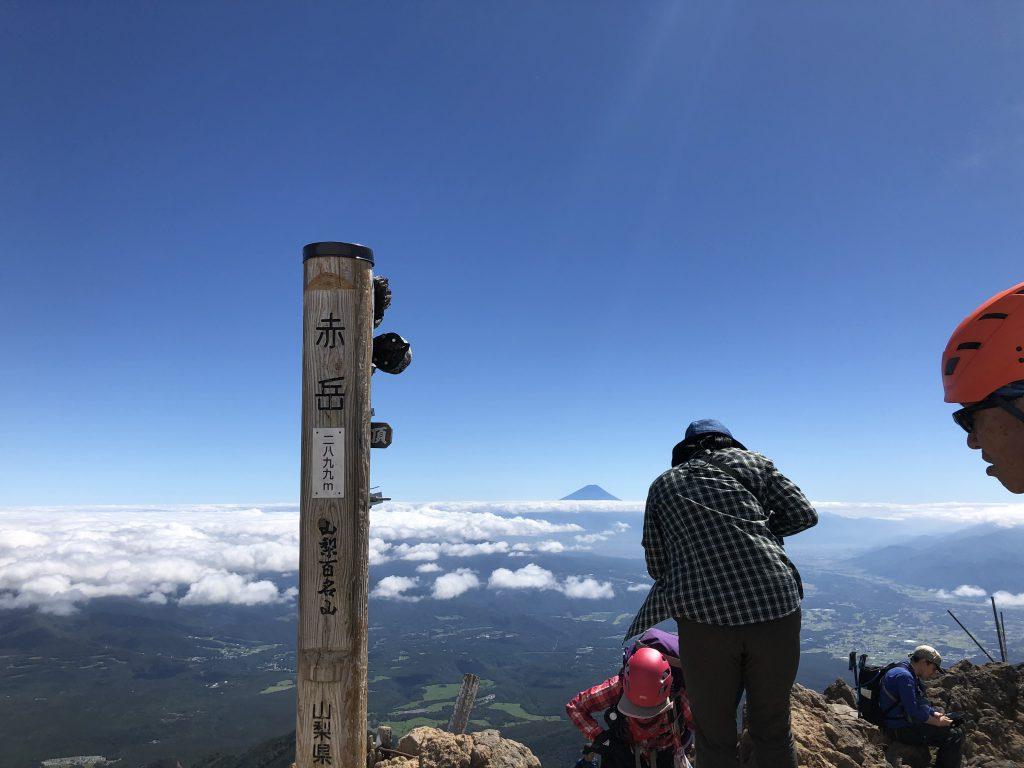 八ヶ岳連峰 赤岳 富士山 山頂